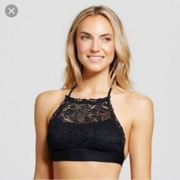 23f73c6818952 Mossimo black crochet lace high neck swim bikini